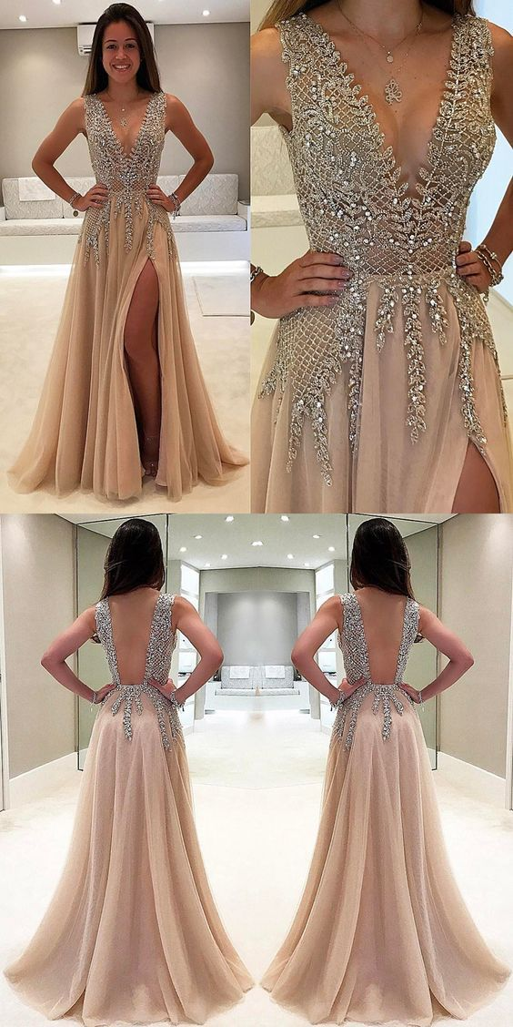 Gorgeous V-Neck Champagne A-Line Split-Front Long Prom Dress with Beading on Storenvy