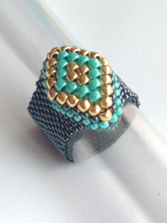 Metallic Hematite Turquoise Gold Toho Bead Ring