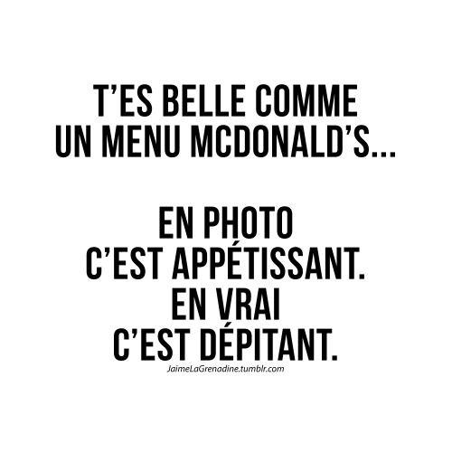 T'es belle comme un menu mcdonald's… En photo c'est appétissant. En vrai c'est dépitant - #JaimeLaGrenadine