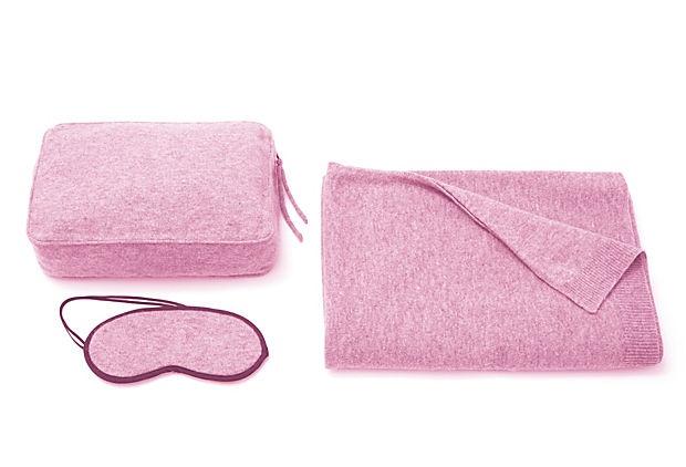 3-Piece Cashmere Cable Travel Set, Pink on OneKingsLane.com