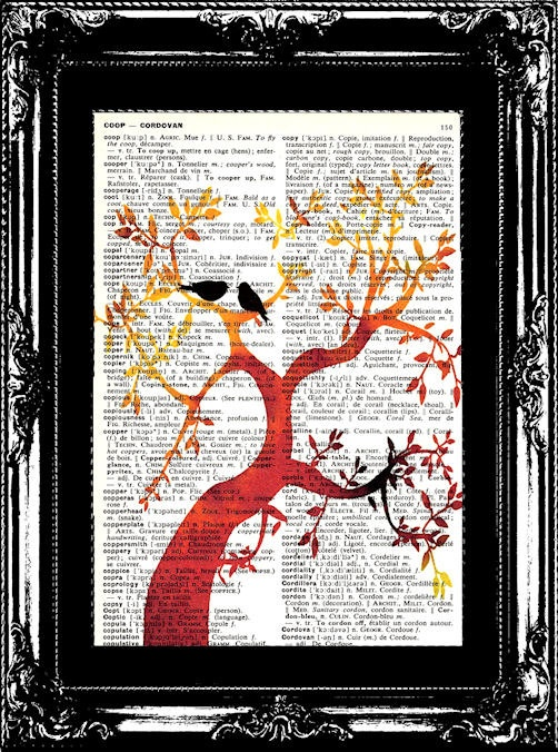 Summer Tree of Love Vintage  English to French by woodendoll