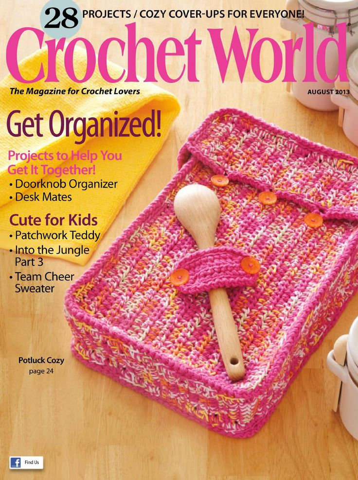 Crochet world 2013 08 in this magazine issue you will find the third of three installments of the pattern..into the jungle by Cindy Cseh among many other patterns for the crocheting
