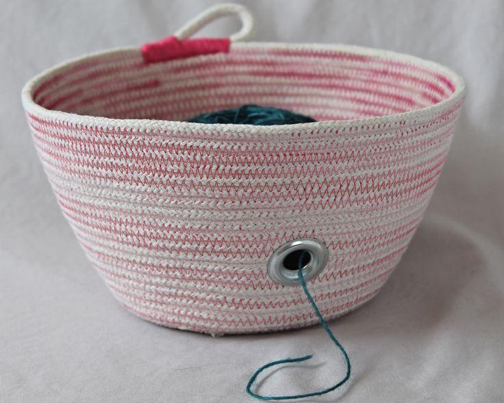 Pink yarn bowl, rope basket