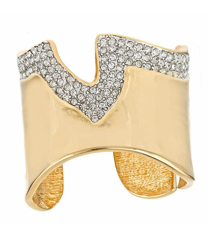 Polished Gold Cuff with Rhinestones