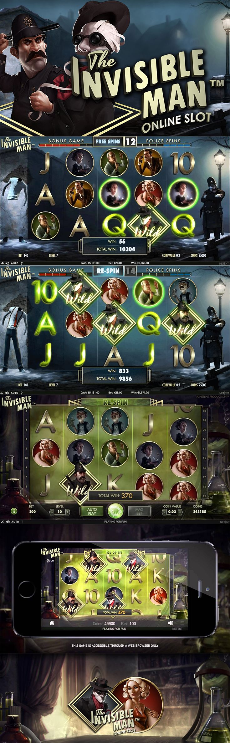 #FreeSlot | Created by NetEnt, The Invisible Man slot is entertaining, engaging, and exciting!