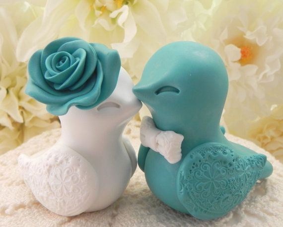 Love Bird Wedding Cake Topper Teal And White Bride By Lavagifts