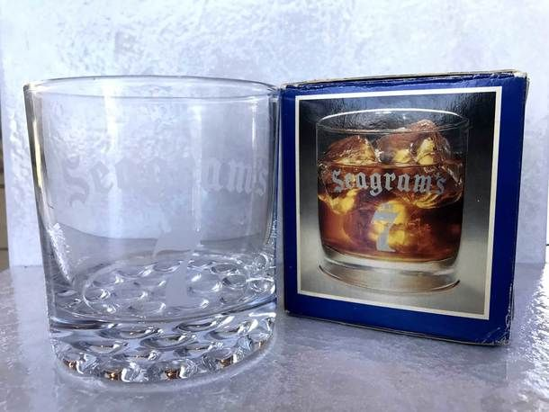 Vintage Seagram's 7 Collectors Series Cocktail Low Ball Rocks Whiskey Glass - 1991