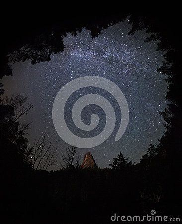 MILKY WAY SKY IN THE FOREST -   Picture taken at night in the National Park Bicaz Gorges - Hăşmaş Mountains located in north-eastern Romania. On the night sky we can see a part of Milky Way.
