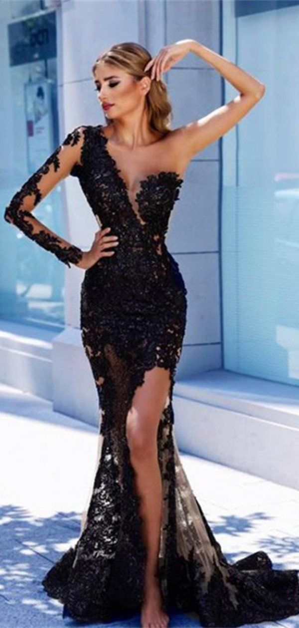 4d0a04a4dcac3 One Shoulder Sleeve Black Lace Long Prom Dress,2019 New Prom Dress ...