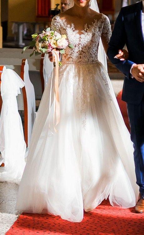 Nowa Ekskluzywna Suknia ślubna Tren 343638 Ivory Wedding
