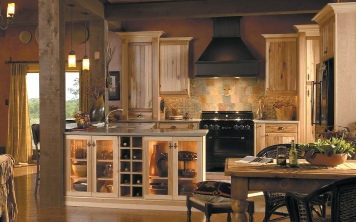 Hickory Rustic Kitchen Cabinets By Medallion A Natural Finish Displays All Of Hickory S Unique Characteristics To Their Fullest Creating Cabin