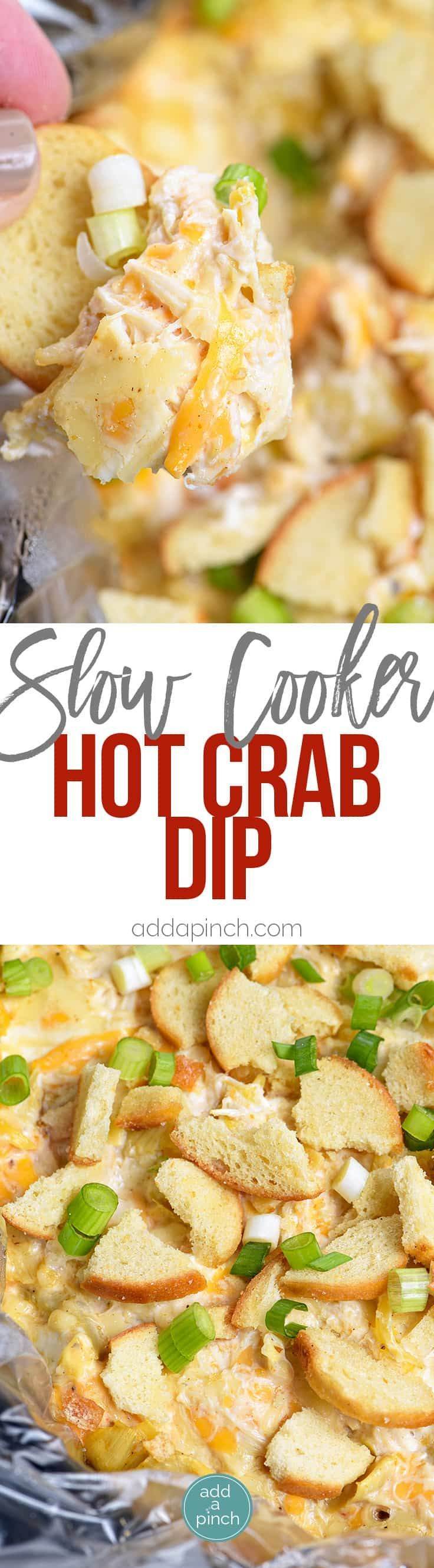 Slow Cooker Hot Crab Dip Recipe - A delicious hot crab dip recipe made even easier with the slow cooker! Serve with butter crackers or toasted bagels! Always a party favorite! // addapinch.com