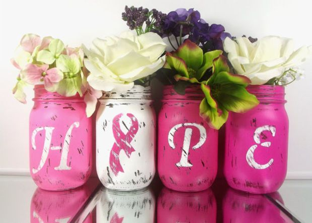 HOPE, set of four, Hand Painted Mason Jars - Breast Cancer Awareness - Rustic - Style, Home Decor