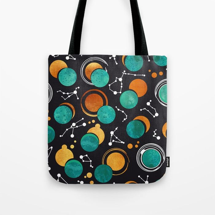 Great Total #Solar #Eclipse II // turquoise green #moons #Tote #Bag by #selmacardoso | Society6 #totebag