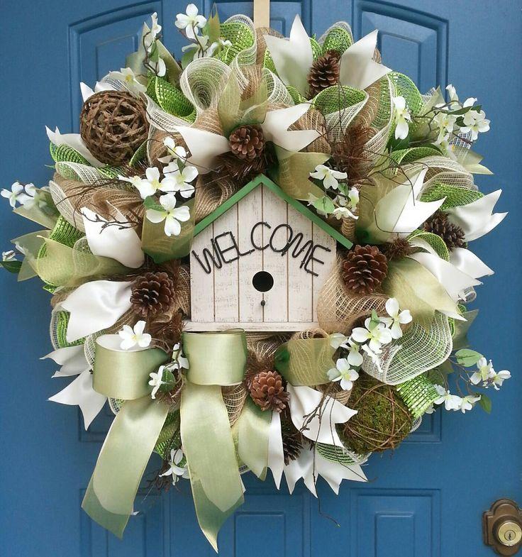 Spring deco mesh wreath, Summer deco mesh wreath, Everyday wreath, deco mesh wreath, Birdhouse wreath by WonderfulWreathsKim on Etsy https://www.etsy.com/listing/230269797/spring-deco-mesh-wreath-summer-deco-mesh