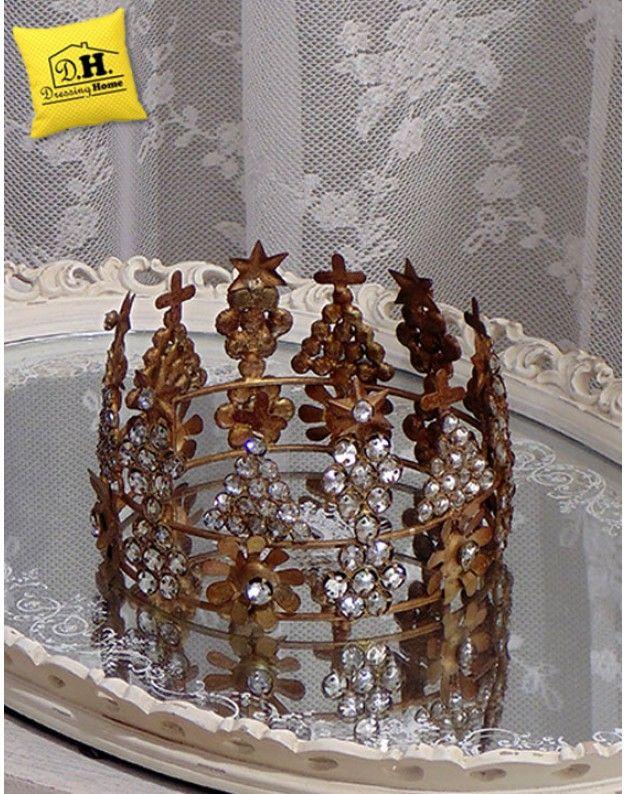 Corona Decorativa Metallo Centrotavola Shabby Chic Blanc Mariclo Diametro 14 cm Altezza 8 cm
