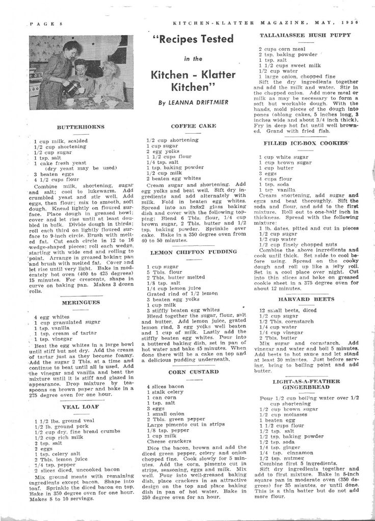 Kitchen Klatter Magazine, May 1950 - Butterhorns, Meringue, Veal Loaf, Coffee Cake, Lemon Chiffon Pudding, Corn Custard, Tallahassee Hush Puppy, Filled Ice Box Cookies, Harvard Beets, Light as a Feather Gingerbread