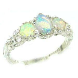 Ladies Solid White Gold Natural Fiery Opal English Victorian Trilogy Ring - Size 8 - Finger Sizes 5 to 12 Available