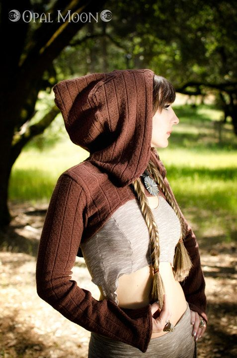 The Summer Sweater Hooded Shrug in Nutmeg/Brown by Opal Moon Designs (sizes L or XL). $88.00, via Etsy.