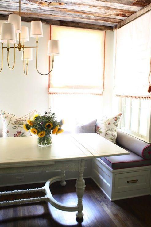 Suzie: Nest Egg - Comfu, cozy breakfast nook with Thomas O'Brien Vendome Large Chandelier, ...