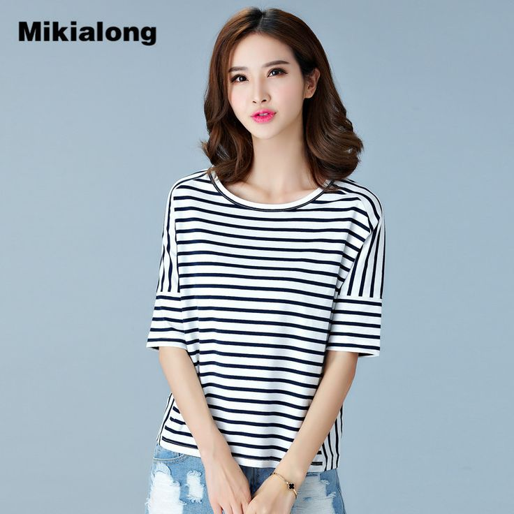 Korean Half Batwing Sleeve T Shirt Women 2017 Summer Casual O-neck T-Shirt Female Loose White Navy Striped Plus Size Tops Tshirt