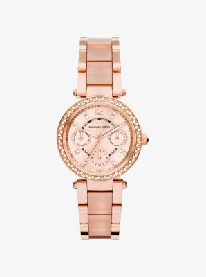 Mini Parker Rose Gold-Tone And Blush Acetate Watch  STORE STYLE #: MK6110