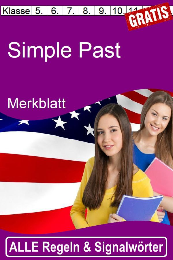 FREE: Simple Past leaflet with all rules for education and use – signal words – special features – teaching material in English