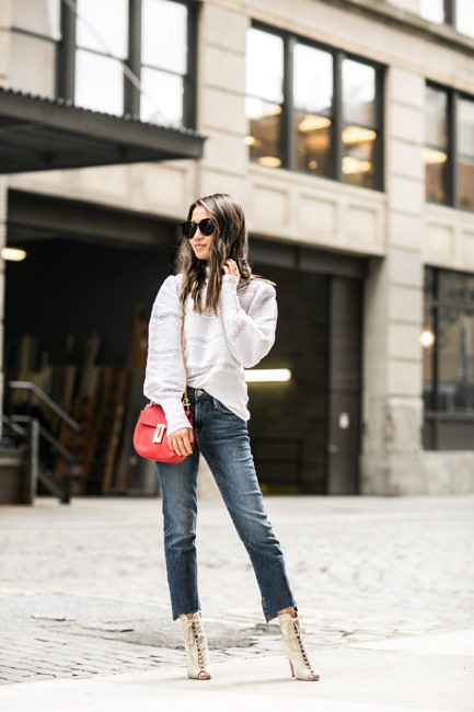 NYC Summer :: Lace top & Straight-leg jeans - Wendy's LookbookWendy's  Lookbook