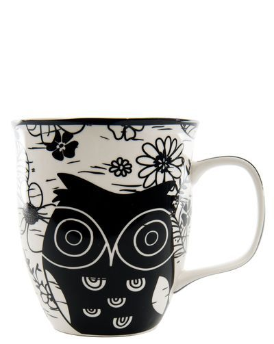 Black And White Owl Mug Pinned by www.myowlbarn.com