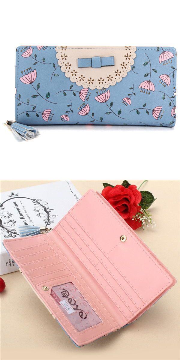 201a5bb4bee7 Women rural floral long wallet girls cute hasp purse card holder ...