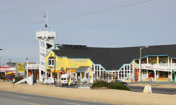 Original Kitty Hawk Kites store in Nags Head, heading North on Highway 158.
