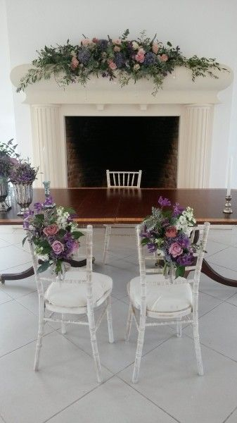 B&G chair flowers, in pink and gold