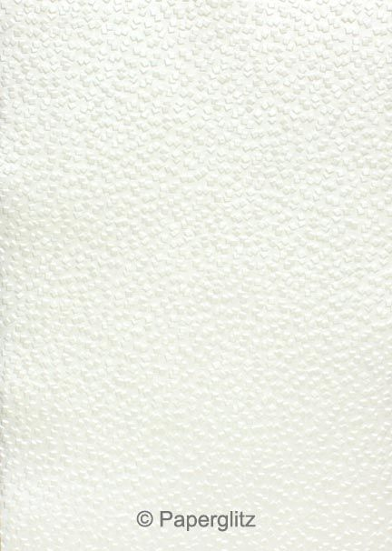 Handmade Embossed Paper - Modena White Pearl A4 Sheets