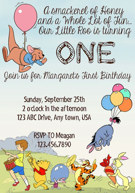 Winnie the Pooh Birthday Invitation by SpeckledinSunlight on Etsy