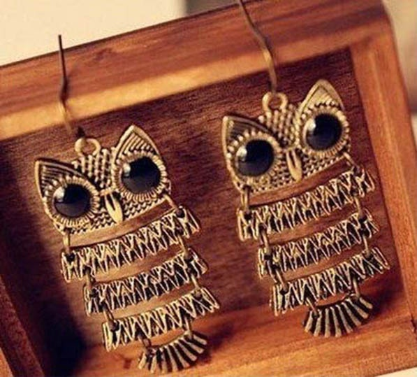 The iconic PEPPY BROWN Vintage Owl Earrings