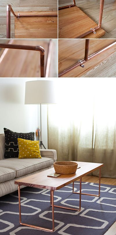 Sleek and Stylish DIY Coffee Tables • Lots of Ideas and Tutorials! Including from 'for me, for you', this nice DIY copper coffee table.