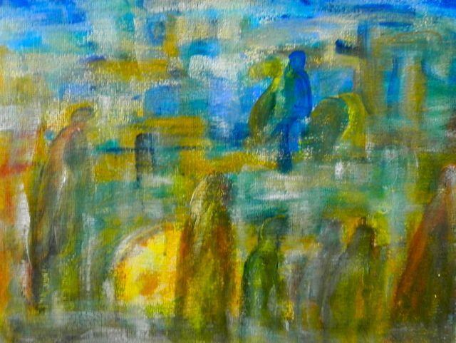 Bossche Broek - Ruiter | acryl op papier op mdf, ingelijst | ca 68 x 52 cm | © Irka Stachiw #painting #schilderij #acrylic #landscape #soul #impressionism #eternaljourney #ruiter