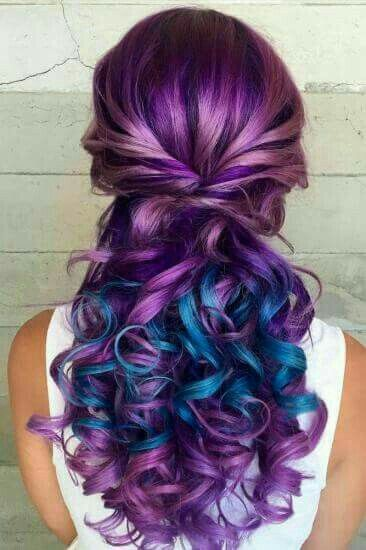 Beautiful hair color, purple and blue