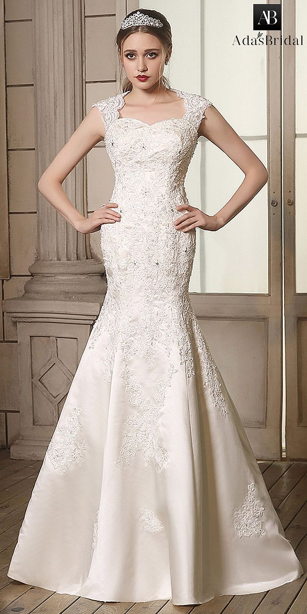 Romantic Satin Queen Anne Neckline Lace Appliques Mermaid Wedding Dresses  0676350098998