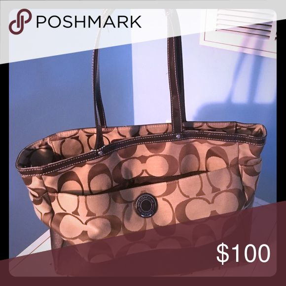 Coach diaper bag/oversized purse Brown and beige with coach c's Coach Bags Shoulder Bags