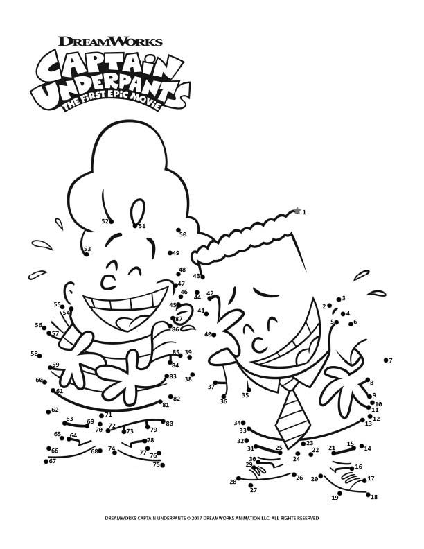 Connect The Dots Captain Underpants The First Epic Movie In 2020 Captain Underpants Coloring Pages Connect The Dots