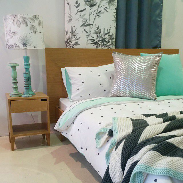 Pale minty blues look fresh & clean.  Duvet from Aura Home