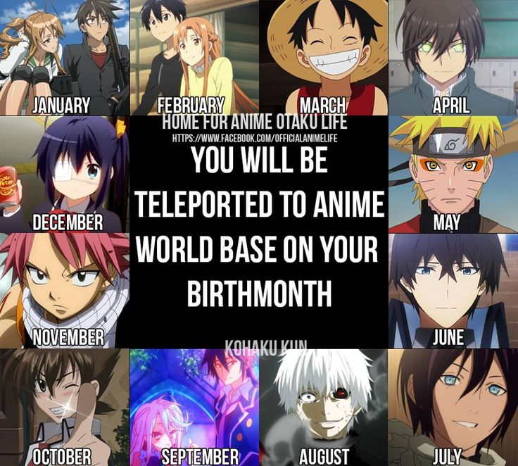 I don't even know what anime I got!! my birthmonth is October, Highschool DxD was it? Oh and thank you for telling me what anime was on June, Can someone tell me What anime is on January? February~Sword Art online, March~One Piece, April~Charlotte, May~Naruto, June~The Iregular at Magic Highschool, July~Noragami, August~Tokyo Ghoul, September~No Game no Life, October~Highschool DxD, November~Fairytail, December~i forgot  Whaddya get?