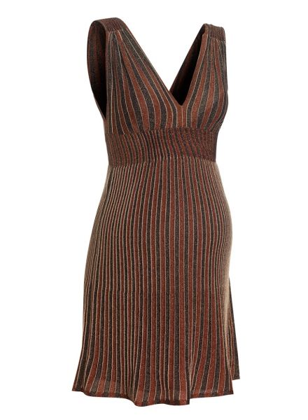 WHY WE LOVE THIS M MISSONI LOW V EMPIRE DRESS; Cute knee length dress with slip dress included Available in 2 colour ways brown or black Both with gold sparkle accents. #wonderfulchristmas