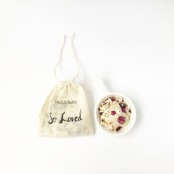 $11 USD So Loved Bath Tea Bag by Salt + Glow. Infused with rose geranium, healing salts, and skin softening milk.