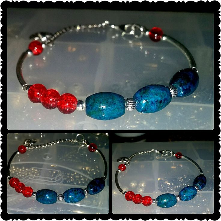 Stackable bracelet with red accent by glaetzer jewellery kreations