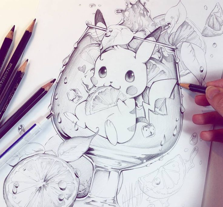 Yush!!! ☆   i created a new Cocktail drink with super cute little Pikachu  from Pokemon inside ^_^I really want to bring colors in it at todays evening     Tools : Fa...