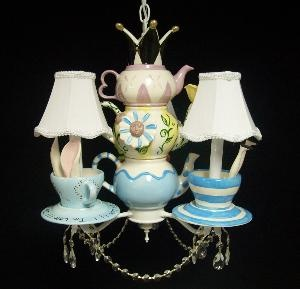Whimsical Alice In Wonderland Mad Hatter Tea Party Chandelier (Three Arm)