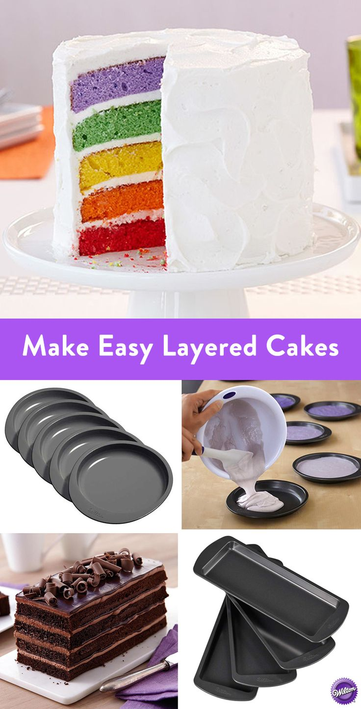 Easy Layers Cake Pan Set - Always wanted to bake a layered cake? Now's the time to try! Bake a beautiful layered cake with one boxed cake mix or scratch recipe using the Wilton Easy Layers Cake Pan Set. It comes with multiple pans made for stacking for even cake layers. Easily create ombré, rainbow, or gender reveal cakes. Enjoy a classic torte or buttercream layered cake. Have fun mixing and matching delicious flavor combos and fun color combinations.