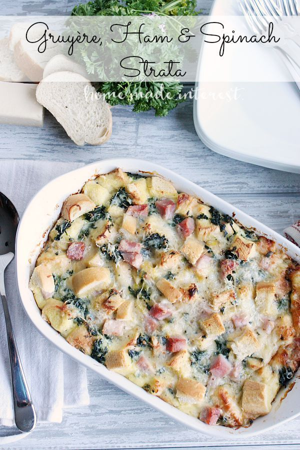 This Gruyère, Ham, and Spinach Strata is a great brunch recipe since it can be made a day ahead of time and baked the morning of the brunch. I'm definitely adding it to my holiday brunch menu. @boarshead